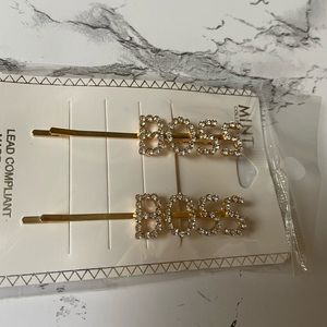 BOSS Gold Tone Crystal Hair Bobby Pins Two Pack